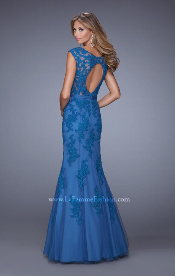 Picture of: Long Lace Sleeveless Mermaid Dress with V Neckline in Blue, Style: 20918, Back Picture