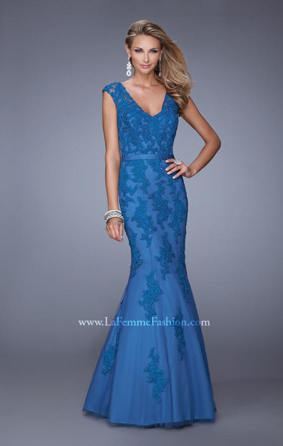 Picture of: Long Lace Sleeveless Mermaid Dress with V Neckline in Blue, Style: 20918, Detail Picture 1