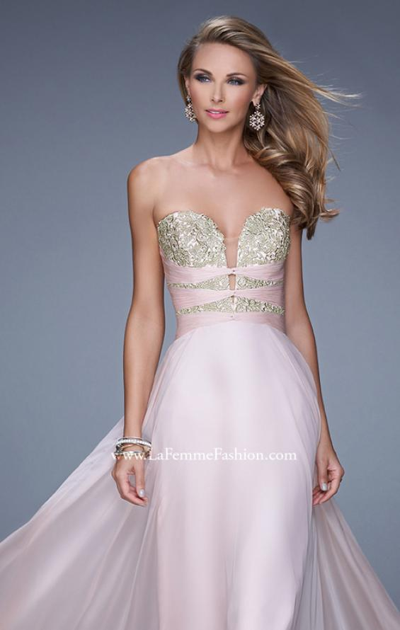 "Picture of: Long Chiffon Gown with Embroidered Bodice with ""X"" Back in Pink, Style: 20921, Main Picture"