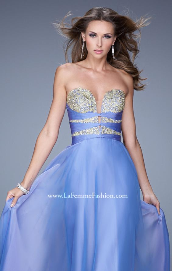 "Picture of: Long Chiffon Gown with Embroidered Bodice with ""X"" Back in Blue, Style: 20921, Detail Picture 8"