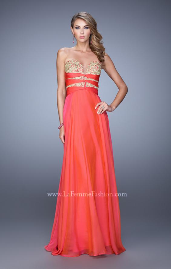 "Picture of: Long Chiffon Gown with Embroidered Bodice with ""X"" Back in Red, Style: 20921, Detail Picture 10"