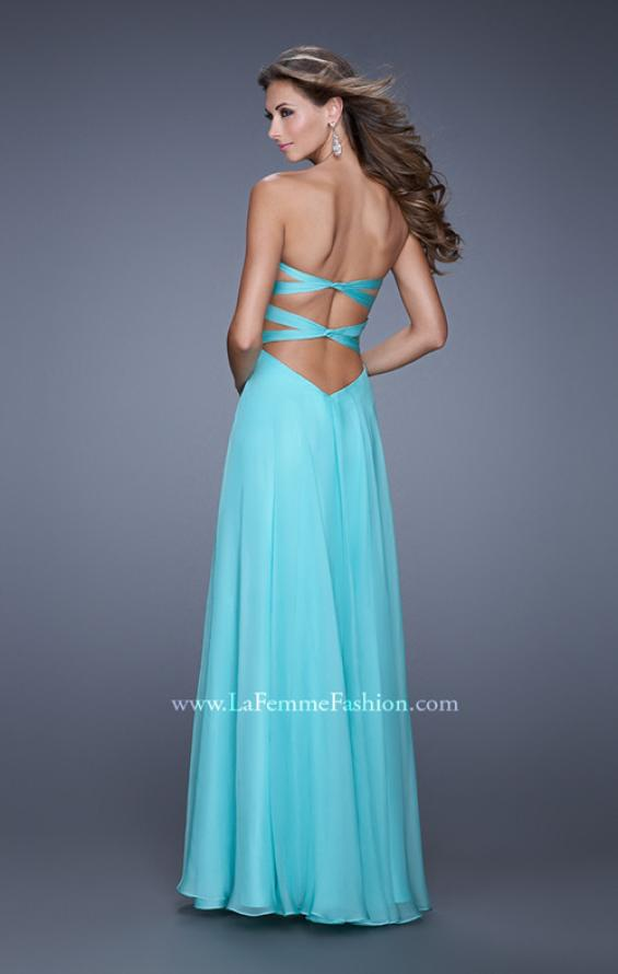 "Picture of: Long Chiffon Gown with Embroidered Bodice with ""X"" Back in Aqua, Style: 20921, Back Picture"