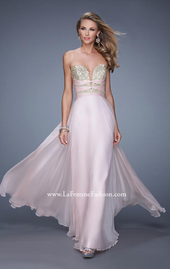 "Picture of: Long Chiffon Gown with Embroidered Bodice with ""X"" Back in Pink, Style: 20921, Detail Picture 1"