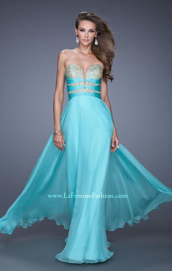 "Picture of: Long Chiffon Gown with Embroidered Bodice with ""X"" Back in Blue, Style: 20921, Detail Picture 2"