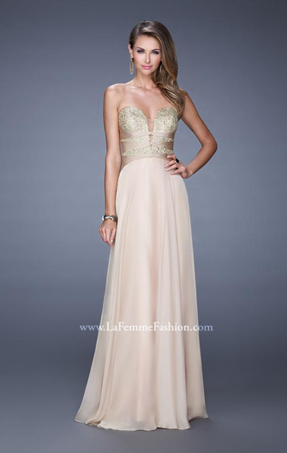 "Picture of: Long Chiffon Gown with Embroidered Bodice with ""X"" Back in Nude, Style: 20921, Detail Picture 3"