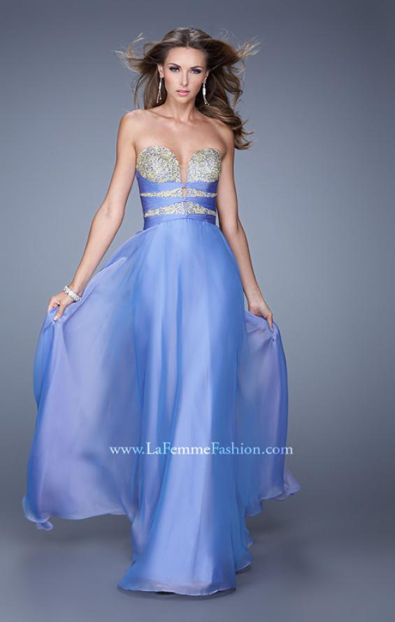 "Picture of: Long Chiffon Gown with Embroidered Bodice with ""X"" Back in Blue, Style: 20921, Detail Picture 4"