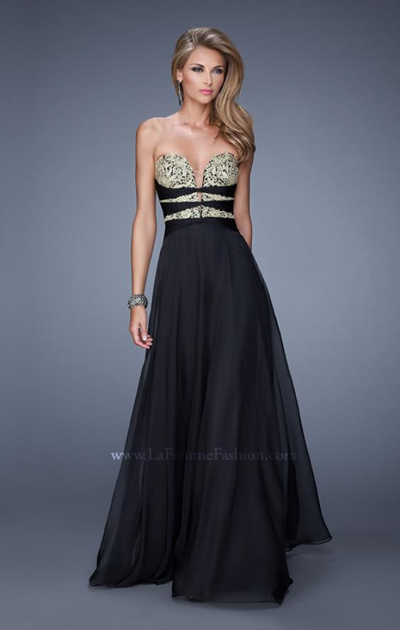 "Picture of: Long Chiffon Gown with Embroidered Bodice with ""X"" Back in Black, Style: 20921, Detail Picture 5"
