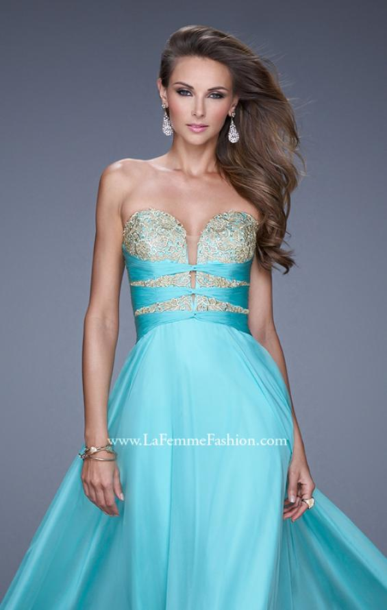 "Picture of: Long Chiffon Gown with Embroidered Bodice with ""X"" Back in Aqua, Style: 20921, Detail Picture 6"