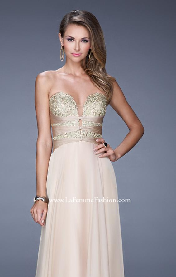 "Picture of: Long Chiffon Gown with Embroidered Bodice with ""X"" Back in Nude, Style: 20921, Detail Picture 7"