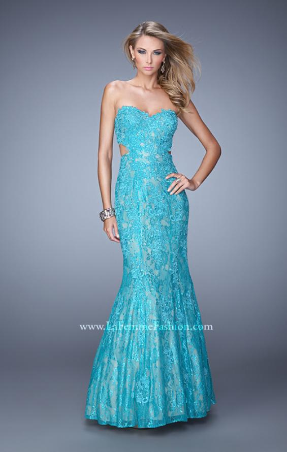 Picture of: Long Lace Mermaid Prom Gown with Open Back in Aqua, Style: 20925, Main Picture
