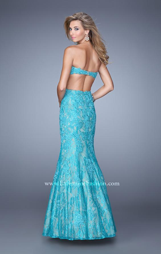 Picture of: Long Lace Mermaid Prom Gown with Open Back in Aqua, Style: 20925, Back Picture