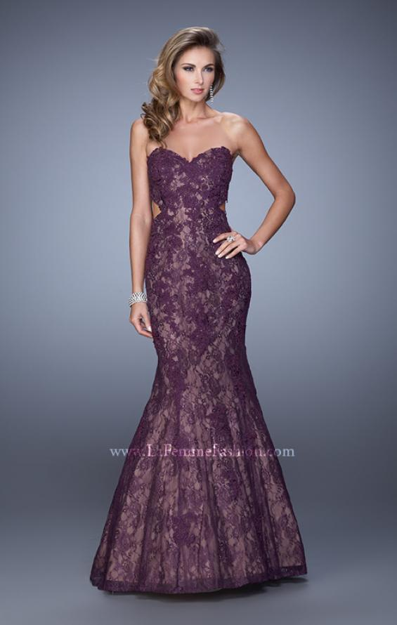 Picture of: Long Lace Mermaid Prom Gown with Open Back in Purple, Style: 20925, Detail Picture 1