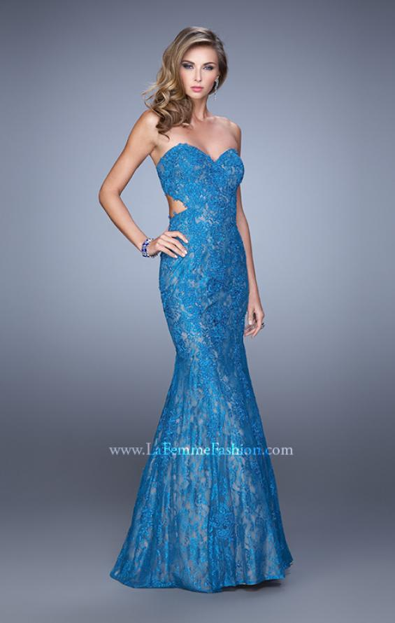 Picture of: Long Lace Mermaid Prom Gown with Open Back in Teal, Style: 20925, Detail Picture 3