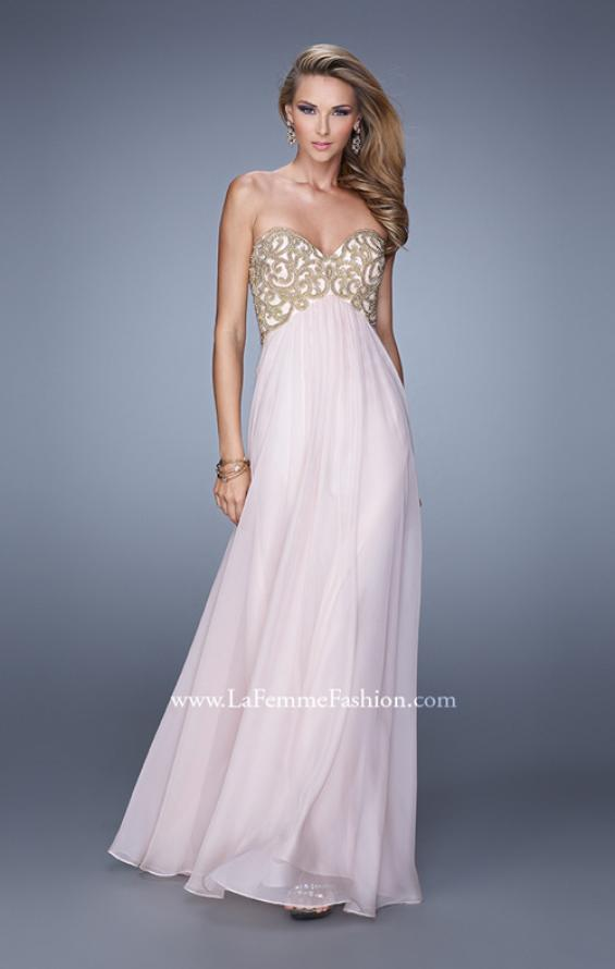 Picture of: Empire Waist Long Prom Dress with Metallic Pearls in Pink, Style: 20931, Main Picture