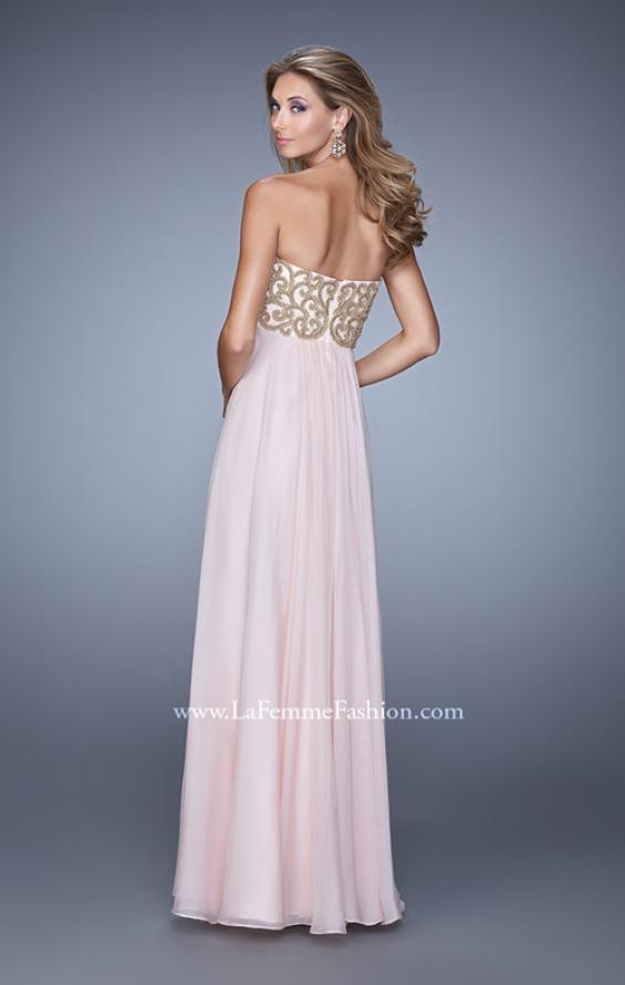 Picture of: Empire Waist Long Prom Dress with Metallic Pearls in Pink, Style: 20931, Back Picture