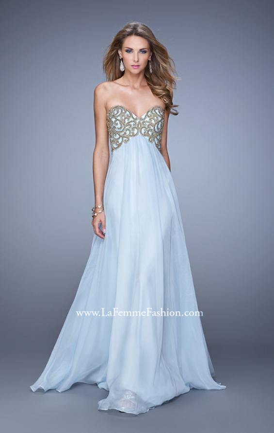 Picture of: Empire Waist Long Prom Dress with Metallic Pearls in Blue, Style: 20931, Detail Picture 1