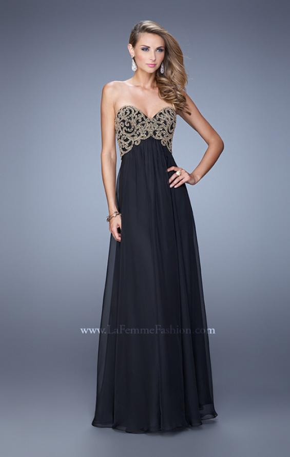 Picture of: Empire Waist Long Prom Dress with Metallic Pearls in Black, Style: 20931, Detail Picture 2