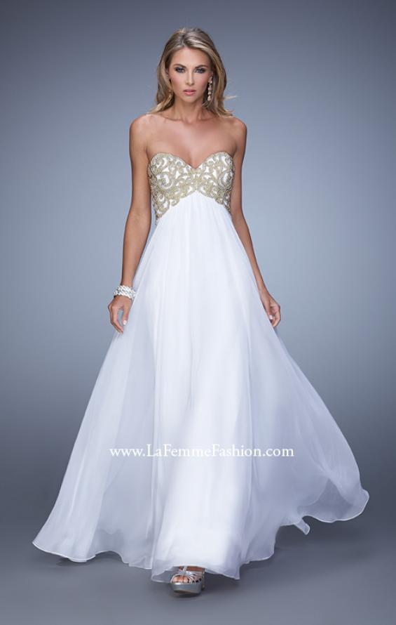 Picture of: Empire Waist Long Prom Dress with Metallic Pearls in White, Style: 20931, Detail Picture 3