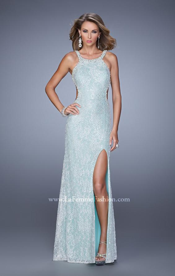 Picture of: Long Beaded Lace Gown with High Neckline and Cut Outs in Aqua, Style: 20933, Detail Picture 1