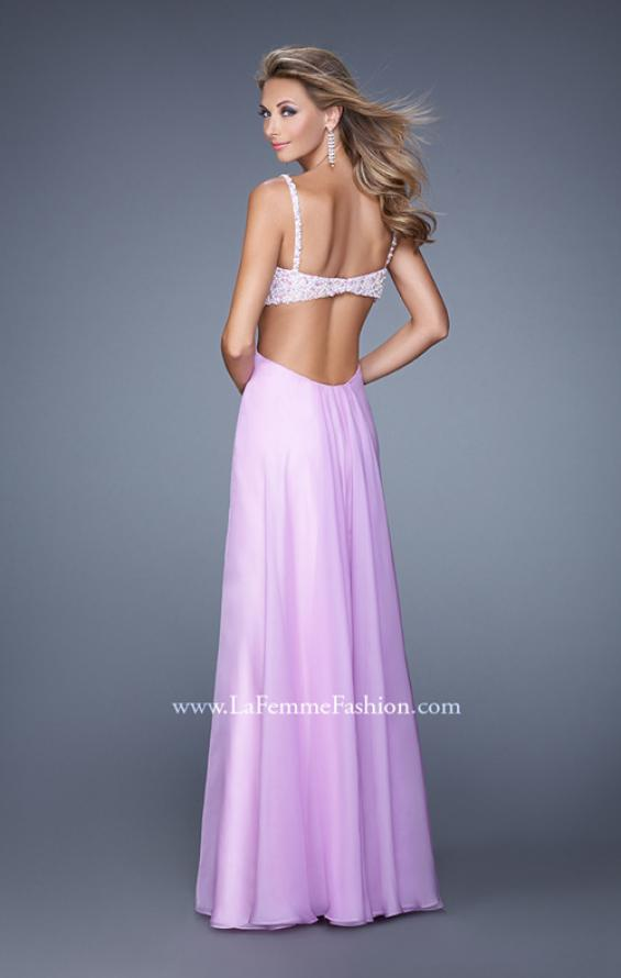 Picture of: Full Length Chiffon Prom Dress with Hand Beaded Bra Top, Style: 20942, Back Picture