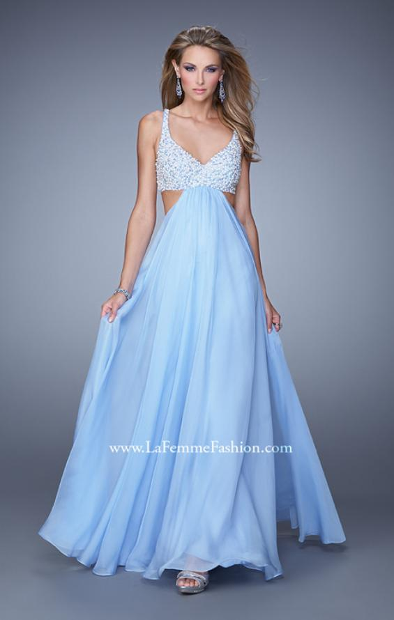 Picture of: Full Length Chiffon Prom Dress with Hand Beaded Bra Top, Style: 20942, Detail Picture 1