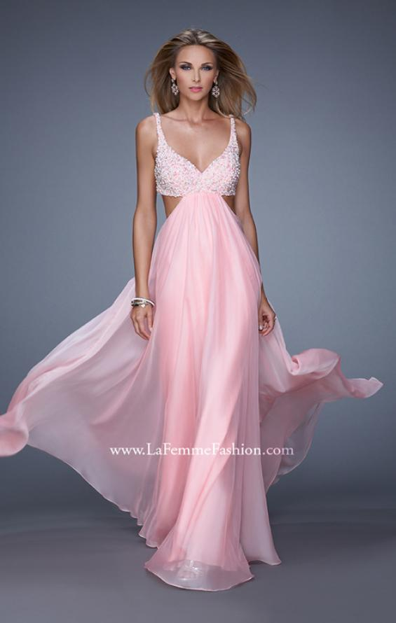Picture of: Full Length Chiffon Prom Dress with Hand Beaded Bra Top, Style: 20942, Detail Picture 2