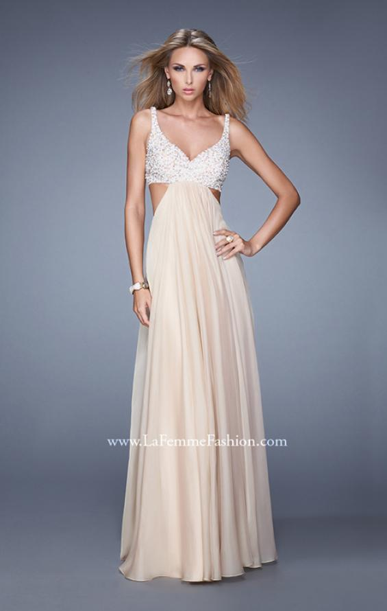 Picture of: Full Length Chiffon Prom Dress with Hand Beaded Bra Top, Style: 20942, Detail Picture 3