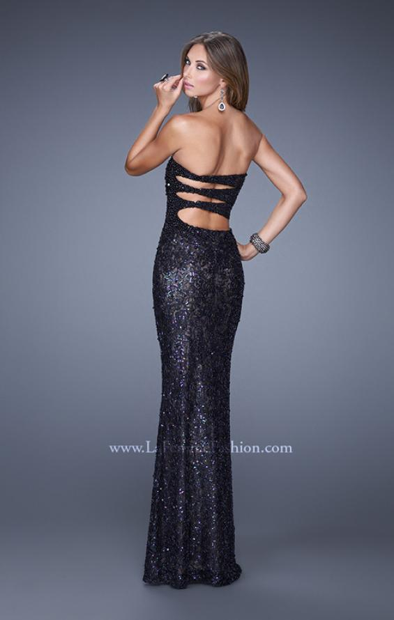 Picture of: Full Length Beaded Lace Dress with Pearl Detailing, Style: 20943, Back Picture