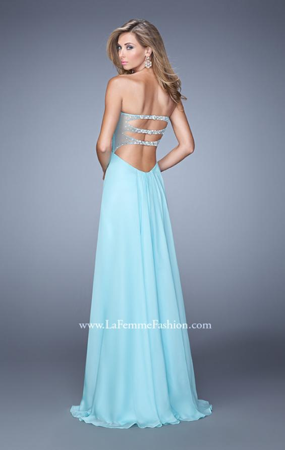 Picture of: Chiffon Prom Dress with Sweetheart Neckline and Pearls, Style: 20952, Back Picture