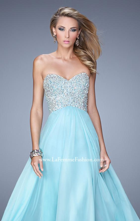 Picture of: Chiffon Prom Dress with Sweetheart Neckline and Pearls, Style: 20952, Detail Picture 1