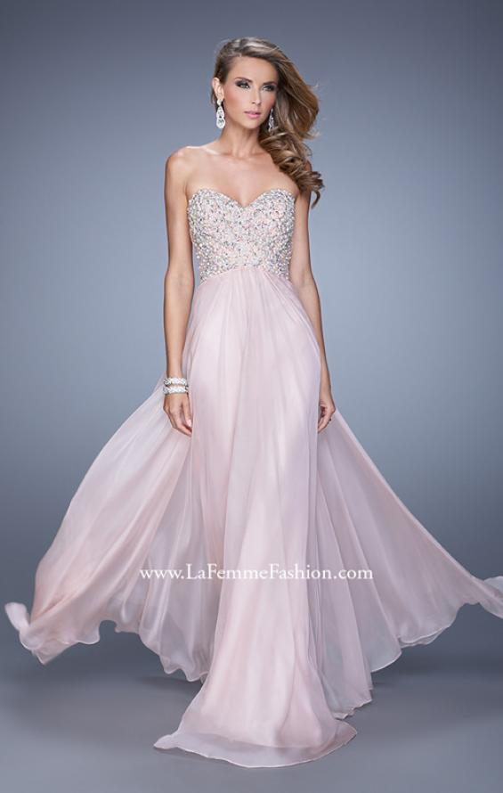 Picture of: Chiffon Prom Dress with Sweetheart Neckline and Pearls, Style: 20952, Detail Picture 2