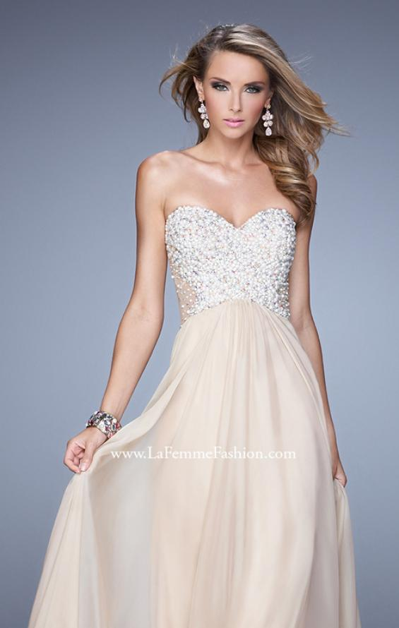 Picture of: Chiffon Prom Dress with Sweetheart Neckline and Pearls, Style: 20952, Detail Picture 5