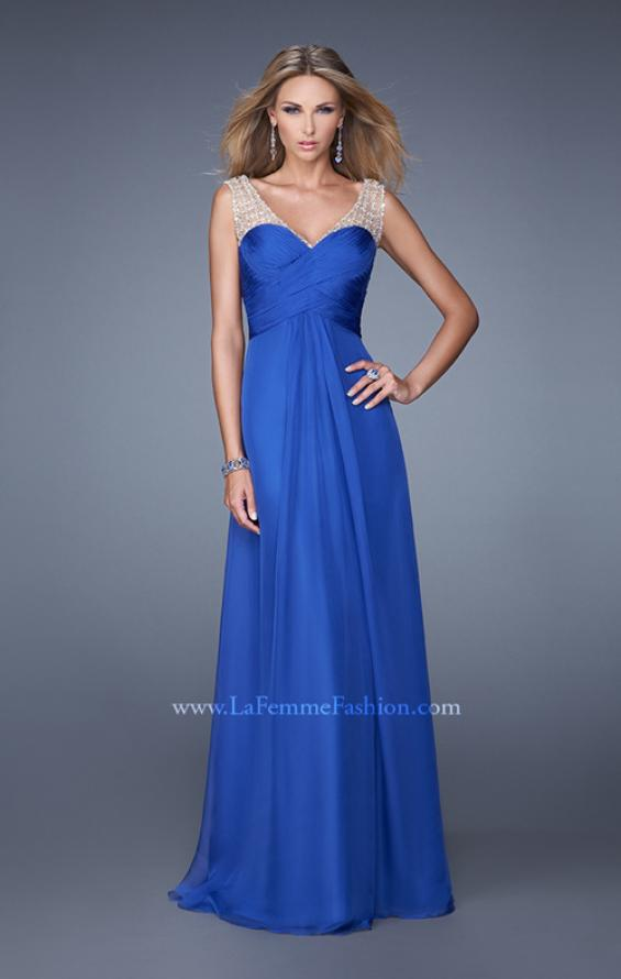 Picture of: Long Chiffon Prom Gown with Embellished Straps in Blue, Style: 20962, Main Picture