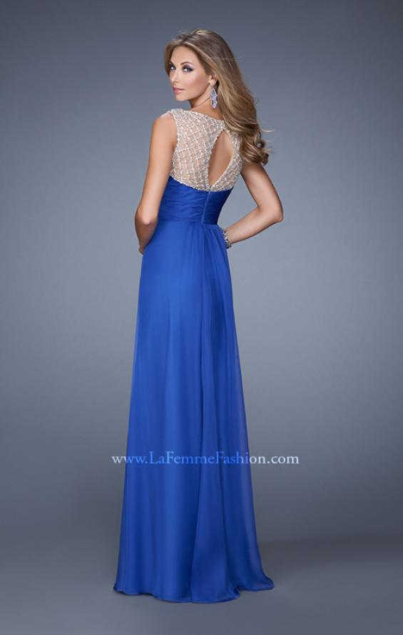Picture of: Long Chiffon Prom Gown with Embellished Straps in Blue, Style: 20962, Back Picture