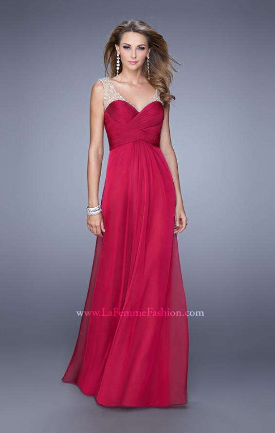 Picture of: Long Chiffon Prom Gown with Embellished Straps in Red, Style: 20962, Detail Picture 1