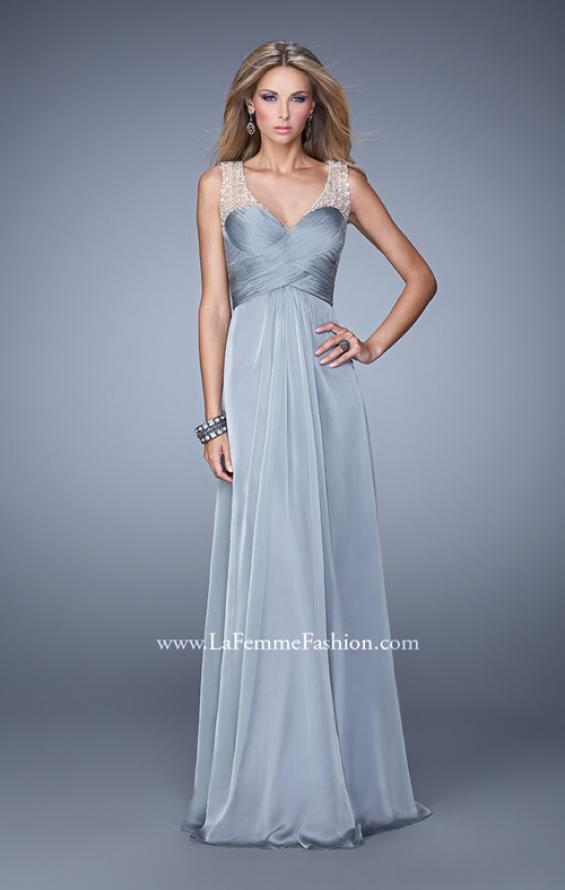 Picture of: Long Chiffon Prom Gown with Embellished Straps in Silver, Style: 20962, Detail Picture 2