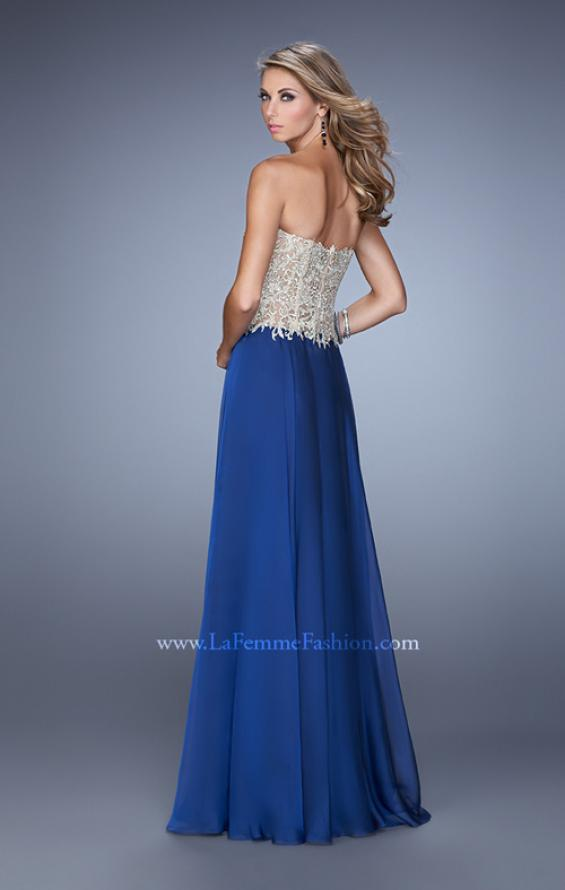 Picture of: Strapless Long Prom Dress with Sheer Corset Bodice, Style: 20969, Back Picture