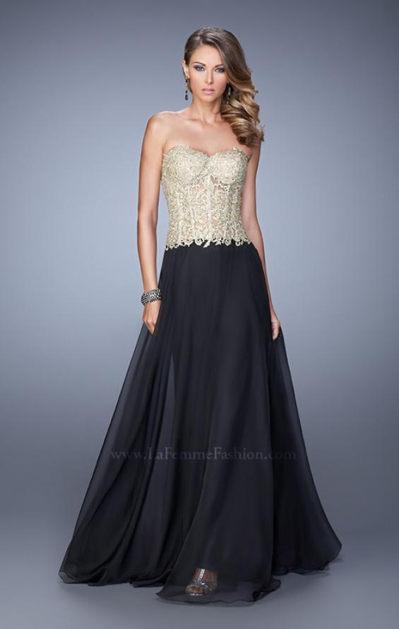 Picture of: Strapless Long Prom Dress with Sheer Corset Bodice, Style: 20969, Detail Picture 1