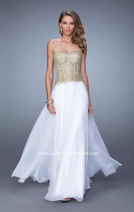 Picture of: Strapless Long Prom Dress with Sheer Corset Bodice, Style: 20969, Detail Picture 2