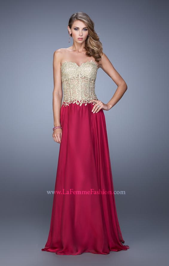 Picture of: Strapless Long Prom Dress with Sheer Corset Bodice, Style: 20969, Detail Picture 3