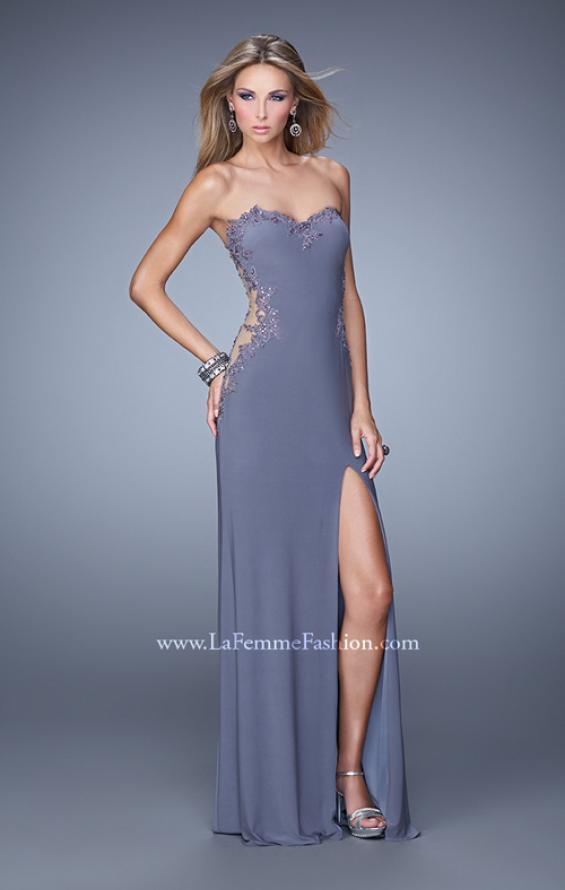 Picture of: Long Jersey Prom Dress with Sheer Sides and Beaded Lace, Style: 20972, Detail Picture 2