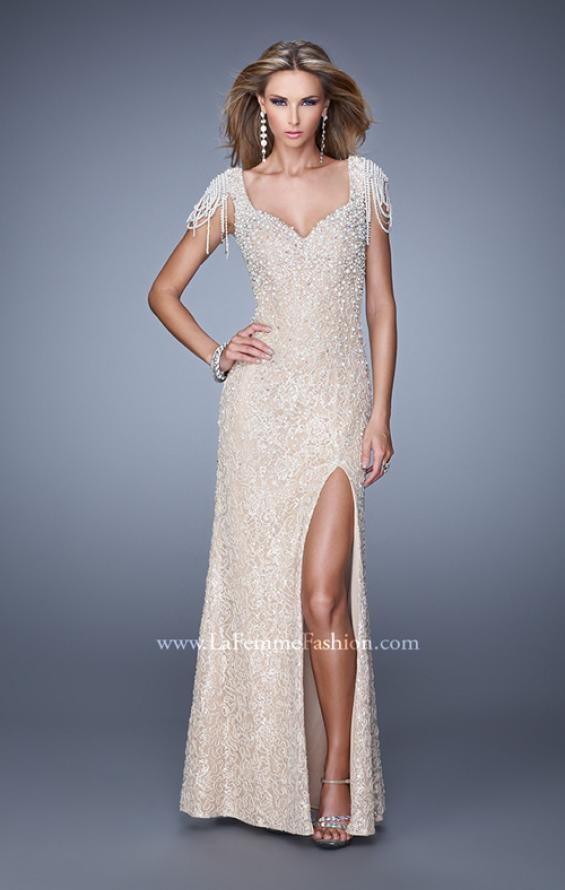 Picture of: Vintage Inspired Beaded Lace Gown with Cap Sleeves, Style: 20973, Main Picture
