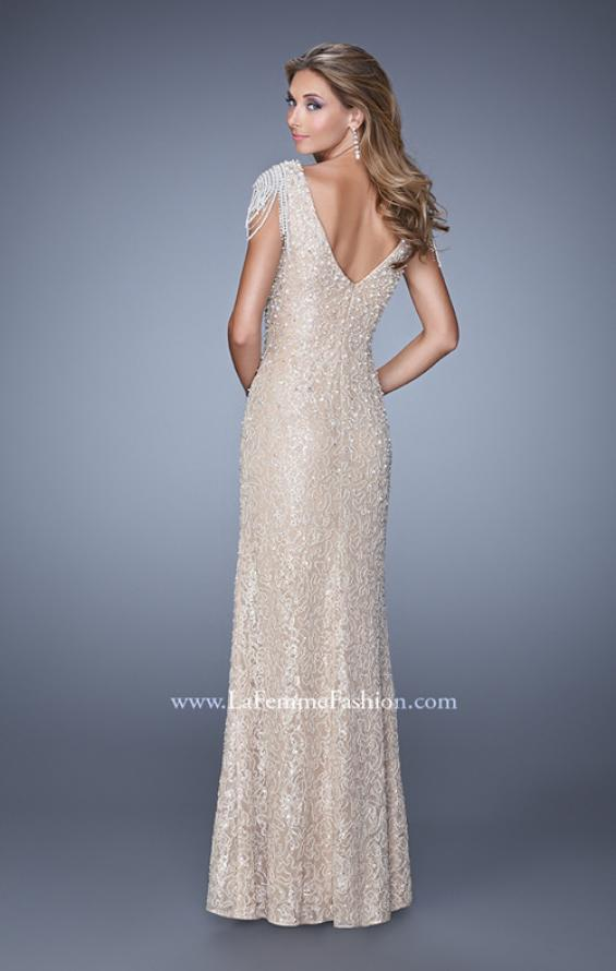 Picture of: Vintage Inspired Beaded Lace Gown with Cap Sleeves, Style: 20973, Back Picture