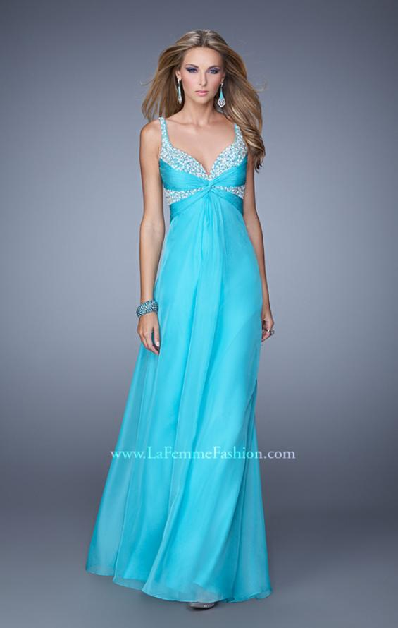 Picture of: Long Chiffon Prom Dress with Gathered Knot Detailing, Style: 20978, Detail Picture 1