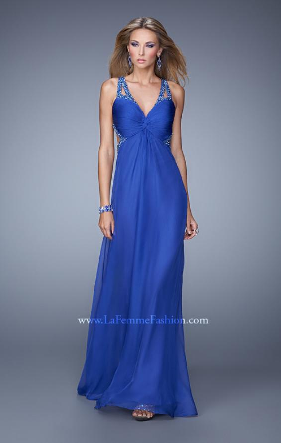 Picture of: Long Chiffon Gown with Jeweled Cut Out Straps in Blue, Style: 20983, Main Picture