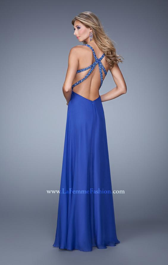 Picture of: Long Chiffon Gown with Jeweled Cut Out Straps in Blue, Style: 20983, Back Picture