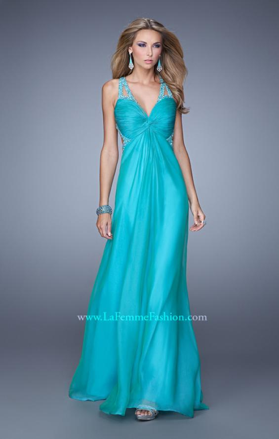 Picture of: Long Chiffon Gown with Jeweled Cut Out Straps in Aqua, Style: 20983, Detail Picture 1