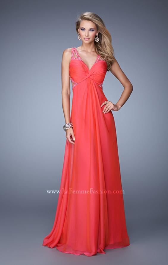Picture of: Long Chiffon Gown with Jeweled Cut Out Straps in Red, Style: 20983, Detail Picture 2