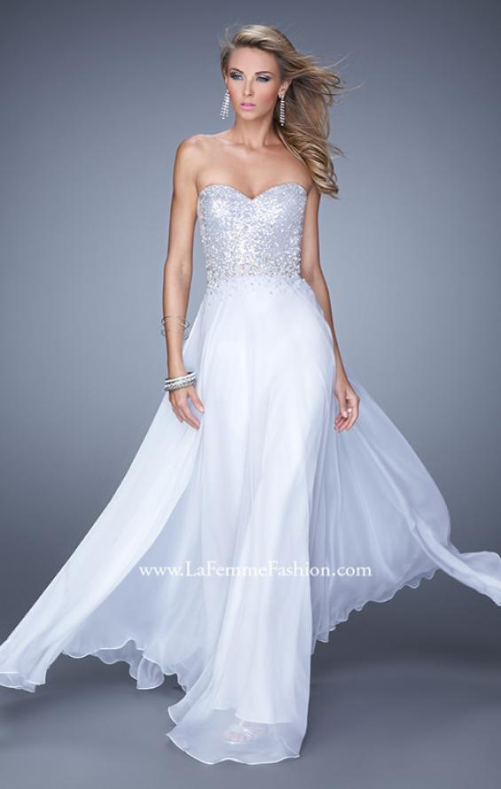 Picture of: Sequined Bodice Long Chiffon Prom Dress, Style: 20985, Main Picture
