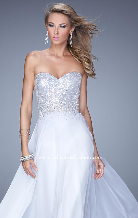 Picture of: Sequined Bodice Long Chiffon Prom Dress, Style: 20985, Detail Picture 1